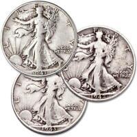 1941-1945 Liberty Walking Half Dollar 3 Coin All Mint Set VG 90% Silver 50c