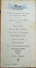 MENU - French Wedding 1950: L'Hommeau, St. Julien - Poulet Flechois Roti