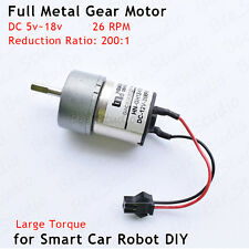 DC 6V-18V 12V 26RPM Mini Full Metal Gear Motor Reduction for Smart Car Robot DIY