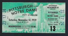 1959 NCAA NOTRE DAME FIGHTING IRISH @ PITTSBURGH PANTHERS FOOTBALL FULL TICKET