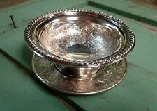 Vintage Silverplate Etched Bowl/Candy Dish with Underplate EPBM England G4721
