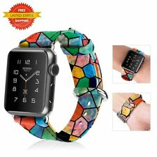 Leather Wristband Band Strap Bracelet Apple Watch 42mm Series 1 Series 2 Rainbow