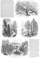 WHARFEDALE The Strid, Barden Tower, Bolton Abbey - Antique Print 1887