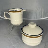 Vintage Mikasa Craft Stone Japan J5001 Sugar Bowl Creamer Set Blue Brown Retro