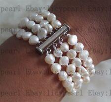 charme 4 Reihen 6-7 mm Weiß barockes Süßwasser perle armband 20 cm