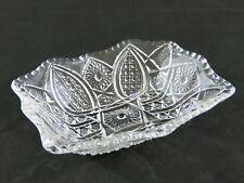 Antique EAPG Indiana Glass PANELED DAISY & FINECUT Crystal Fruit Dessert Bowl