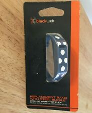 Fitbit Flex 2 Replacement Band w/ Steel Buckle, Blue w/ White Polka Dot Blackweb