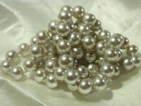 Beautiful Vintage 1970's Silvery Heavy Faux Pearl Necklace - So Very Nice 287D8
