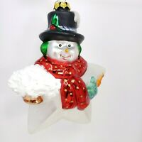 """6""""  Vintage Midwest Holiday   Blown Glass Snowman Star Christmas Tree Ornament"""