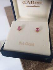 9ct Gold Pink Gemstone Stud Earrings MODERN BOXED MINT