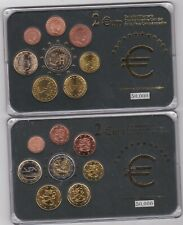 More details for two cased finland & luxembourg eight coin euro sets with certificates near mint