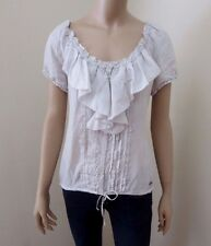 NWT Abercrombie Women 100% Silk Ruffle Top Size Large Shirt Blouse Gray