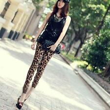 Fashion Sexy Leopard Printed Skinny Long Pants Elastic Leggings Women Trousers
