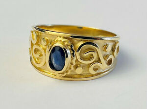 Harry Ivens Ring GG 375 mit Saphir, Gr 18