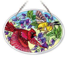 "Cardinal Birds Sun Catcher Amia Beveled Glass 7""x5"" Oval Flowers Unfurling Glory"