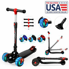 Led Scooter for Kids Deluxe Adjustable 3 Wheel Glider with Kick Girls Boys Gift