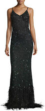 Haute Hippie Ombre Sequin Feather  Maxi  Dress Gown   Size S