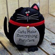 BLACK Cat Doorstop feltro stoffa ~ GATTI reso tutto purrfect