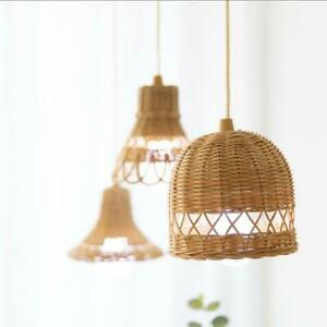 Hand-woven Natural Rattan Lampshade Chandelier Hanging Light Shades for Homestay