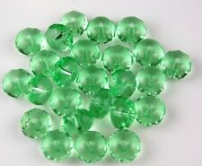 25 PCS Czech Faceted Rondelle Light Green Loose Fire Polished Glass Beads 6x9mm