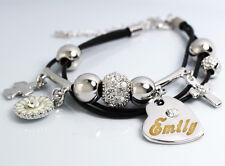 EMILY Cuir Charme Bracelet 18k Plaqué Or - Petite amie Accessoires Meilleur ami