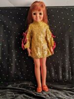 Vintage, Ideal, Crissy, Red Hair, Doll in Turned on Mini Gold Lame Eyelash Dress