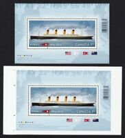 TITANIC = pair of Regular & UnCut Sheet Souvenir Sheet Canada 2012 #2535, 2535ii
