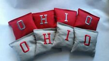 Ohio Embroidered Red and Grey Cornhole Bags