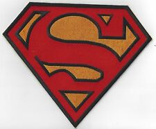 EXTRA LARGE 9 ins x 7.25 ins  SUPERMAN LOGO IRON ON PATCH