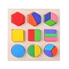 Wood Geometric Shapes Sorting Math Montessori Puzzle Kids Educational Toys Gifts