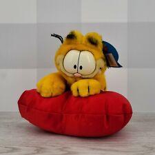 "Vintage Dakin Garfield the Cat 7"" Sitting on Satin Heart Valentines Plush"