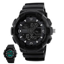 Sports Mens Quartz Digital Analog Watch 5ATM Waterproof Military Wristwatch