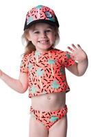 Size 0-1 Baby Girls Rip Curl MINI MIAMI PALMS BIKINI Bathers Rashves - Orange