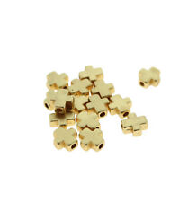 Cross Spacer Metal Beads 8mm - Gold Plated - 5 Beads - BD1217