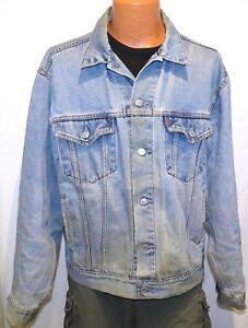 vtg Levi's BLUE JEAN TRUCKER Jacket L denim redtab 70507 Silver Button Distress