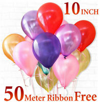 "10 Inch Pearl Metallic Latex Balloons 10"" Helium Wedding Party Baloons Ballons"