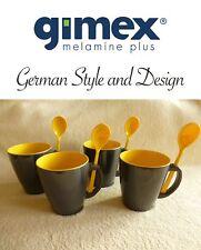 Gimex Melamin Camping Geschirr 4-tlg Becher Henkelbecher Set m. Löffel grey-gelb