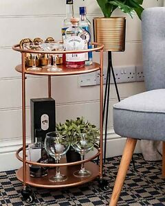 Rose Gold Drinks Trolley with 2 Tiers 30's Art Deco Vintage Home Bar Cart