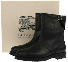 NEW BURBERRY MEN'S BLACK LEATHER BUCKLED MOTORCYCLE BOOTS SHOES 42/9