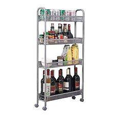 Homfa 4-Tier Gap Kitchen Slim Slide Out Storage Tower Rack with Wheels Cupboard