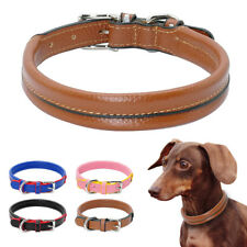 Luxury Soft Leather Pet Dog Collars Adjustable for French Bulldog Schnauzer XS-M