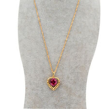 womens 14k gold filled ruby heart pendant gold chain long necklace