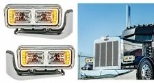 Pair All LED Chrome Headlights Full Assembly w/Mounting Arms Peterbilt 389/379