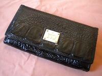 Portafoglio portamonete donna Rocco Barocco ecopelle stampata coccodrillo nera