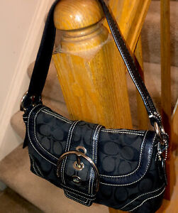 Coach Small Coach E060-10296 Canvas Baguette Bag Black Excellent Used Hobo
