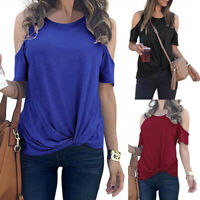 Womens Cold Shoulder Tunic Tops Summer Knotted T Shirt Casual Loose Shirt Blouse