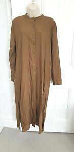 Cos Long Tan Kaftan Style Button Through Dress. 44. UK 16
