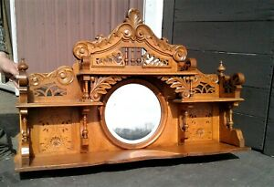 Antique Victorian Tiger Oak Mirror Back Bar w/ Shelves Ball and Stick 1870s Era