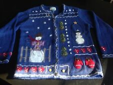 The Quacker Factory Snowman Blue Winter Cardigan Sweater Womens Blue Size M