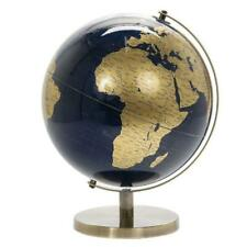 Lesser & Pavey Vintage Rotating Gold and Blue World Globe with Metal Stand 27cm
